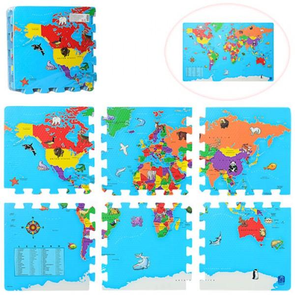 коврик пазл Карта мира M 2612