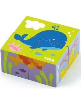Деревянные кубики пазл Viga Toys Подводный мир (50161) - afk 50161
