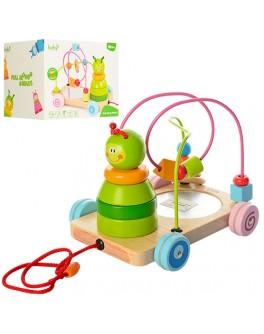 Деревянная игрушка 3 в 1: каталка, лабиринт, пирамидка (MD 1061) - mpl MD 1061