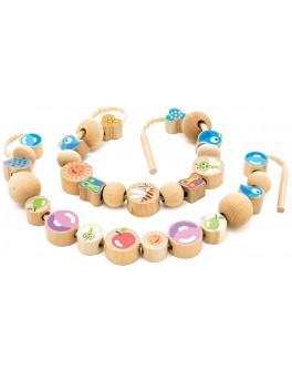 Игрушки из дерева Бусы шнуровка Ассорти, Мди - der 414