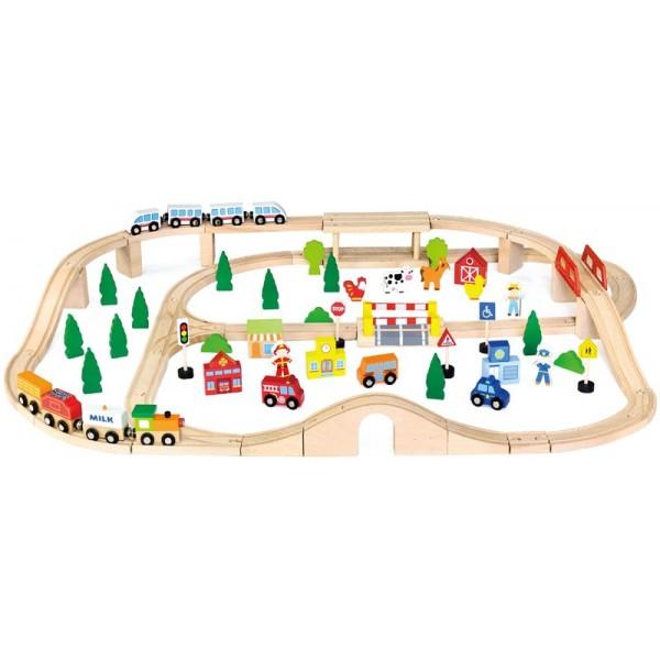 Железная дорога 90 деталей Viga Toys 50998