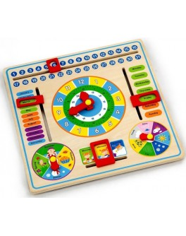 Деревянная игрушка Viga Toys Часы и Календарь (59872)
