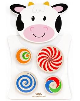 Деревянная игрушка настенная Viga Toys Корова с кругами (50677) - afk 50677
