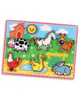 Деревянная рамка-вкладыш Viga Toys Домашние животные (56438)