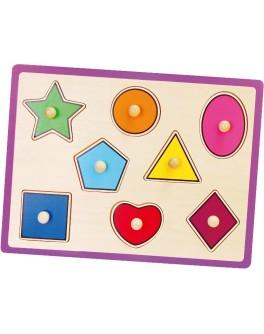 Дерев'яна рамка-вкладиш Монтессорі Viga Toys Форми (50015) - afk 50015