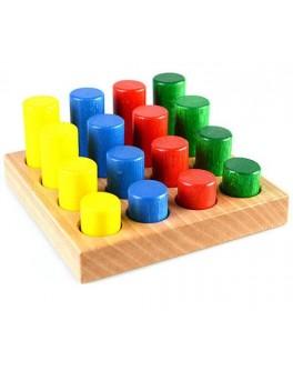 Деревянная рамка-вкладыш Цветные цилиндры, ТАТО