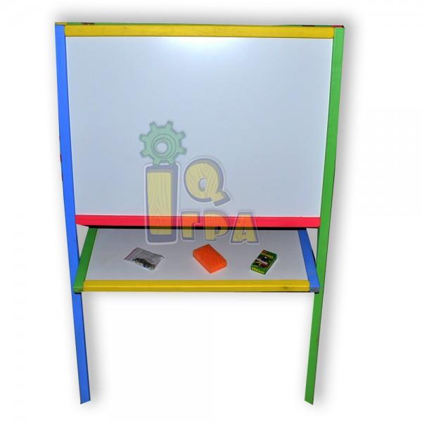 Фото Мольберт 2-х сторонний магнитный цветной с полкой