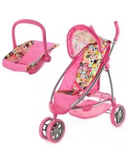 Прогулочная коляска для кукол розовая Melogo