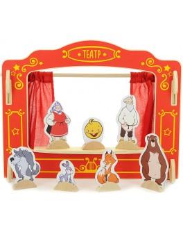 Настольная ширма для пальчикового театра с 16 куклами Кукольный театр