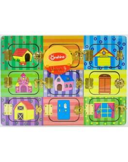 Бизиборд Веселые дверки с замочками M 02999 - igs 69001