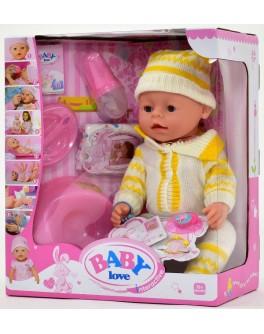 Пупс функциональный Baby Born ВL 009 А в бело-желтом вязанном костюмчике с шапочкой - igs 39252