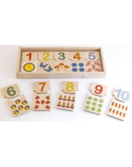Деревянная игра Пазлы половинки Считаем до 10 Розумний Лис
