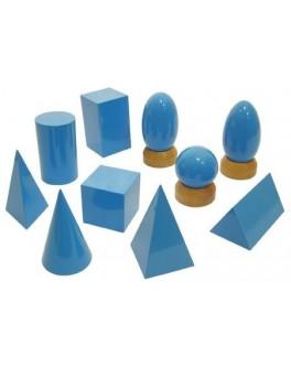 Геометрические тела 10 шт, карточки с проекциями. Методика Монтессори