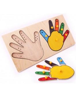 Рамка-вкладиш Монтессорі з дерева Руки (Пальці) Lam Toys - lam 5001