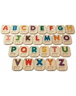 Дерев'яний англійський алфавіт Брайля A-Z Plan Toys (5671) - plant 5671