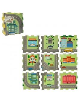 Игровой коврик пазлы Город 9 элементов (M 5801)