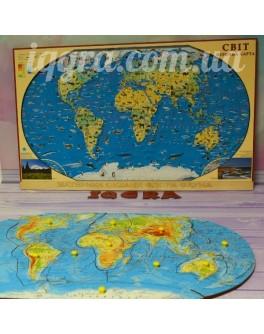 Карта полушарий 64х39 см. Методика Монтессори - SV карта полушарий