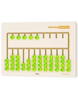 Деревянный бизиборд Алфавит (англ.) Viga Toys (50674) - afk 50674