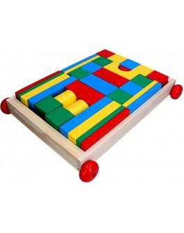 Дерев'яний конструктор кубики в візку Архітектор, 35 дет, Komarovtoys - kom 352
