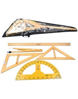 Чертежный набор для школьной доски деревянный (5 предметов: 2 треугольника, транспортир, циркуль, линейка 1 м)