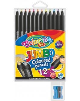 Круглые цветные карандаши Jumbo, 12 цветов с точилкой - ves 55857