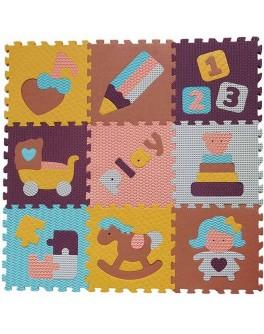 Детский коврик-пазл Baby Great Интересные игрушки 92х92 см (GB-M1601)