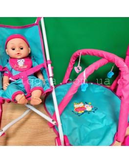 Пупс функциональный 35 см с манежем и коляской Doll Stroller