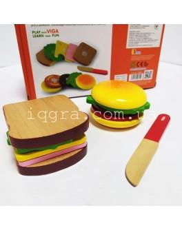 Игрушка деревянная Viga Toys Гамбургер и сэндвич (50810)