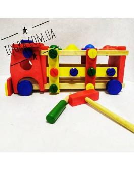 Машинка деревянная стучалка с молоточком - mpl MD 0727