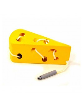 Деревянная шнуровка Сыр с червячком MD 0494 - mpl MD 0494