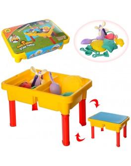 Столик для песка и воды с крышкой и набором для песка