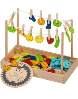 Развивающая игра с прищепками Игрушки из дерева Ёжик (Д440)