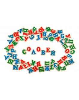 Український алфавіт дерев'яний на магнітах 72 шт. Komarovtoys - kom J704