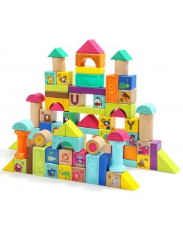 Деревянные кубики конструктор Top Bright Сквизи-животные и деревянные блоки 80 деталей (120411)
