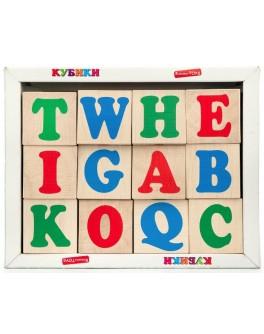 Деревянные кубики Английский алфавит 12 шт, KomarovToys