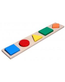 Деревянная рамка-вкладыш Геометрические фигуры 5 элементов, KomarovToys - Kom A 326