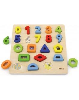 Дерев'яна рамка вкладиш Viga Toys Цифри і фігури (50119)
