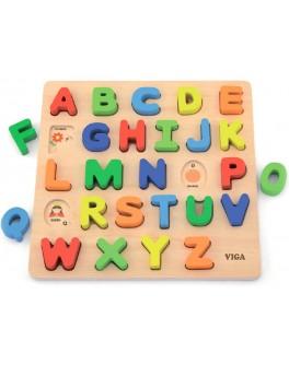 Дерев'яна рамка вкладиш Viga Toys Англійський алфавіт, великі букви (50124)