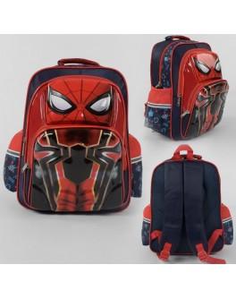 Рюкзак школьный Человек паук 3D принт, 1 отделение, 2 кармана, дышащая спинка (С 43635)