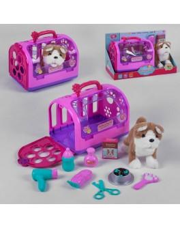 Игровой набор JIA YU TOY Собачка c набором для ухода, в чемодане, на батарейках, ходит, гавкает (T 813-1)