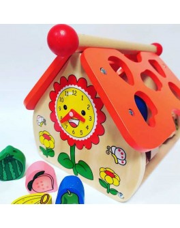 Деревянный домик - сортер, шнуровка, счеты, часы (MD 1087) - mpl MD 1087