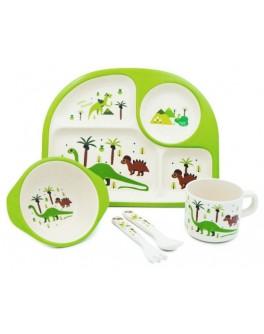 Набір дитячого бамбукового посуду Динозаври 5 предметів (MH-2773-4)