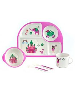 Набір дитячого бамбукового посуду Замок принцеси 5 предметів (MH-2773-5)