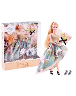 Лялька шарнірна Emily руда в платті в квіточку та з аксесуарами 30 см (QJ 078 D)