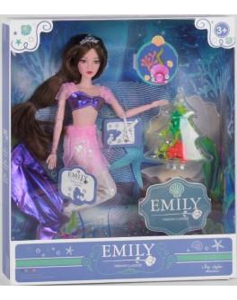 Лялька шарнірна Emily брюнетка Русалочка в рожевому вбранні з аксесуарами 30 см (QJ 092 A)