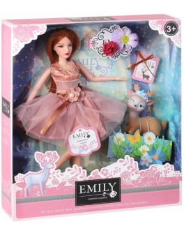 Лялька шарнірна Emily шатенка в рожевій сукні з тваринкою та аксесуарами 30 см (QJ 087 D)