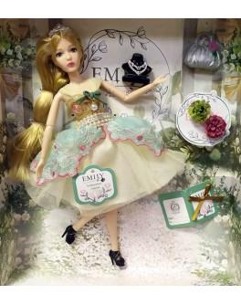 Лялька шарнірна Emily блондинка в бірюзовому платті з аксесуарами 30 см (QJ 088 A)