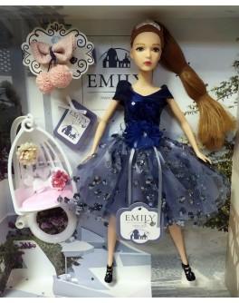 Лялька шарнірна Emily шатенка в синій сукні з гойдалкою 30 см (QJ 089)