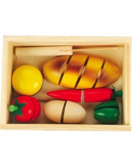 Деревянный набор продуктов на липучках Готовим завтрак - малый, Мди