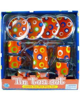Детский кофейный сервиз Оранжевый в разноцветные круги (S092H) - ves S092H